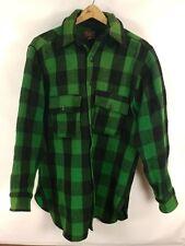 Vtg Woolrich Green & Black Buffalo Plaid Wool Flannel Shirt Jacket Lumberjack 16