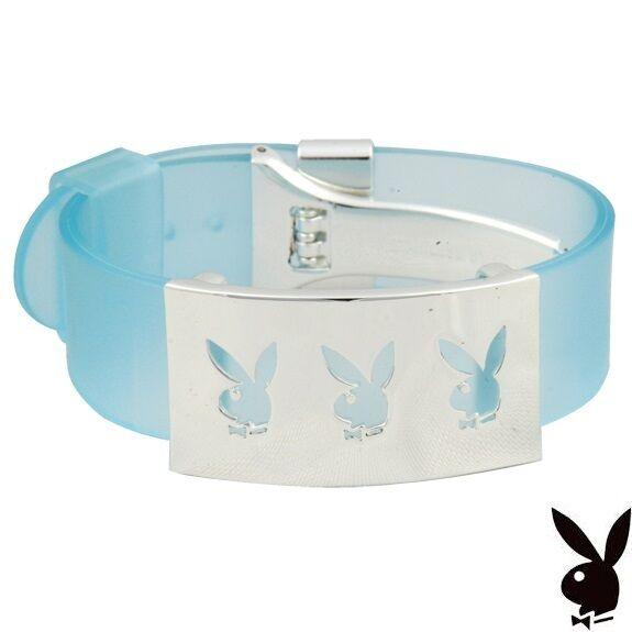 Playboy Bracelet Silver Bunny Charm Stainless Steel Cuff Blue Jelly NIB NOS NWT