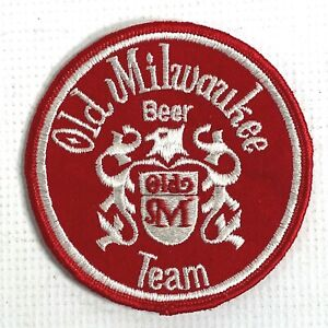 """OLD MILWAUKEE BEER TEAM vintage sew-on patch EMBROIDERED EMPLOYEE BADGE 4"""" inch"""