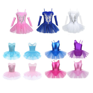 Kids-Girls-Glossy-Sequined-Ballet-Dress-Gymnastics-Tutu-Skirts-Dancewear-Costume