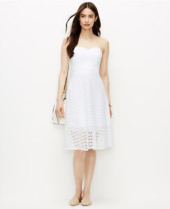 Ann Taylor - Size 8 (MEDIUM) White Strapless Eyelet Dress $179.00 ...