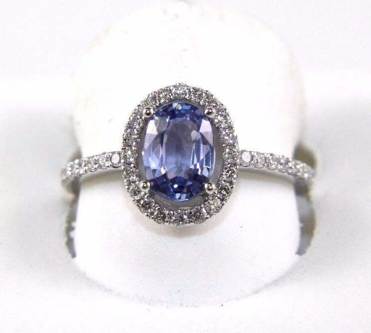 Fine Oval Cut bluee Sapphire Solitaire Ring w Diamond Halo 14k White gold 1.70Ct