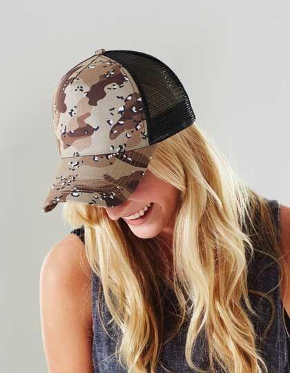 Beechfield Camouflage Snapback / Trucker Cap Mitchell Army Military Ness