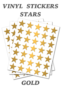 50 Gold  Star Merit Stickers Self Adhesive Vinyl Labels size 20mm each