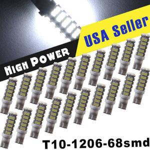 20X T10/194 RV Trailer 12V LED Lights Bulbs 68 SMD Xenon 6000K White US FLY