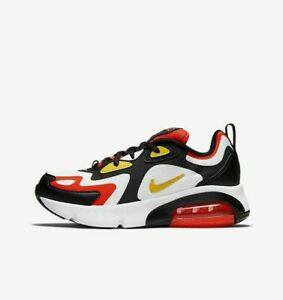 Nike-Air-Max-200-GS-AT5627-005-White-Black-Crimson-Yellow-Youth-Boy-039-s-Shoes