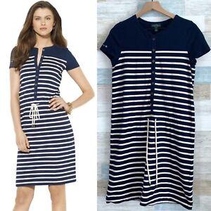 LRL-Ralph-Lauren-Nautical-Striped-Dress-Blue-White-Rope-Drawstring-Womens-Medium