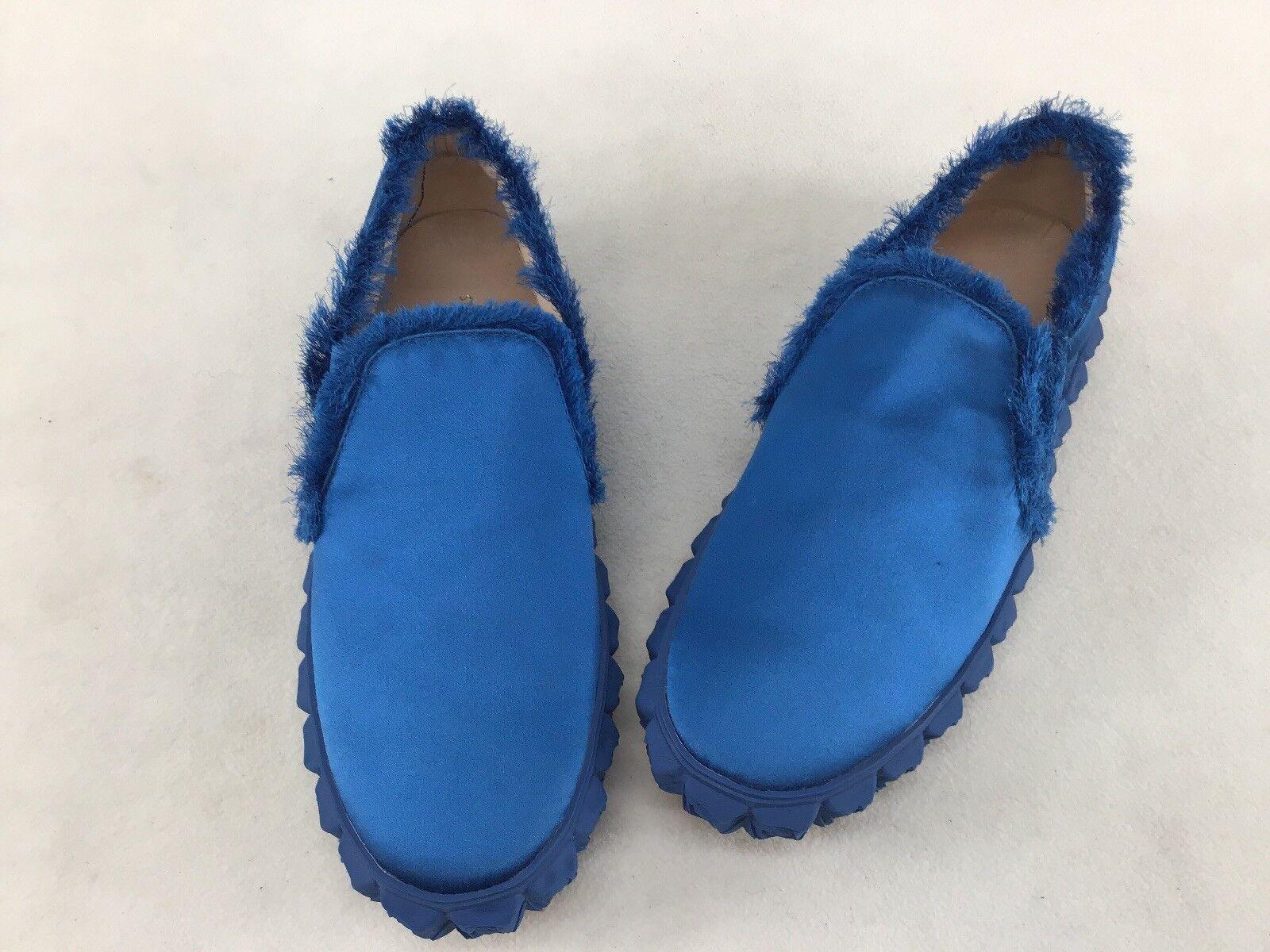 Stuart Weitzman Fringiebelle Aegean Blau Cotton Slip On Slippers Größe 9M F5964