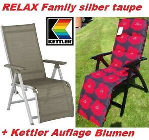 kettler liegesessel relaxsessel relaxliege family silber taupe auflage frei haus. Black Bedroom Furniture Sets. Home Design Ideas