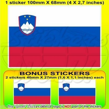 2 BONUS SLOVÉNIE Drapeau SLOVÈNE Vinyle Sticker Autocollant 100mm