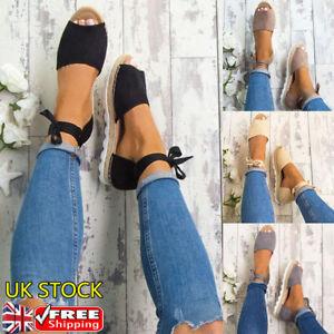 Womens-Ankle-Strap-Sandals-Espadrilles-Platform-Peep-Toes-Summer-Shoes-Size-UK