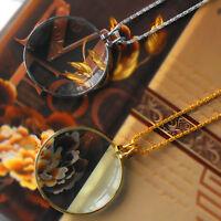 Vergrößerungsglas Halskette Lupe Anhänger mit Kette 6x Lupe Glaslinse Halskette