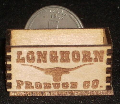 Dollhouse Miniature Longhorn Produce Crate 1:12 Scale Texas Farm Vegetables Food