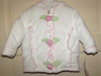 Infant Girls Winter Coat 18 M Months White Pink Green Soft Hooded Jacket