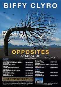 BIFFY-CLYRO-2013-TOUR-FLYER-RARE-LIVE-CONCERT-MUSIC-OPPOSITES-ARENA-PROMO