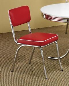 4 red and white vinyl upholstered retro styled chrome for Red and white upholstered chairs