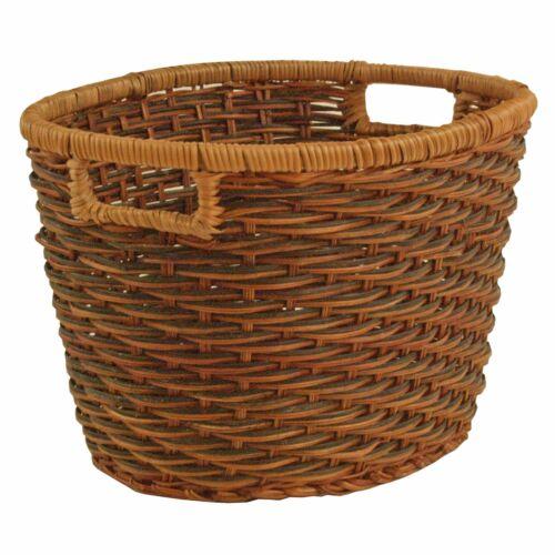 Strong Oval Knitting Basket Fern Rattan Wicker Storage L 35 x W 25 x H 20cm