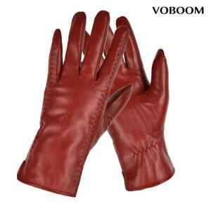 100-Gants-en-peau-de-mouton-gants-en-cuir-rouge-gants-d-039-hiver-pour-femmes-GB01
