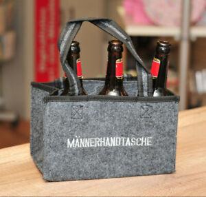 Maennerhandtasche-Bierhalter-6-Faecher-fuer-Flaschen-Maennergeschenk-Traeger-witzig