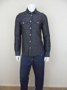 Emporio-Armani-Mens-New-Indigo-Long-Sleeve-Black-Linen-Cotton-Blend-Shirt-Size-M