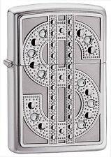 Zippo 20904, Bling, Dollar $, Swarovski Crystals, Emblem, High Polish Chrome