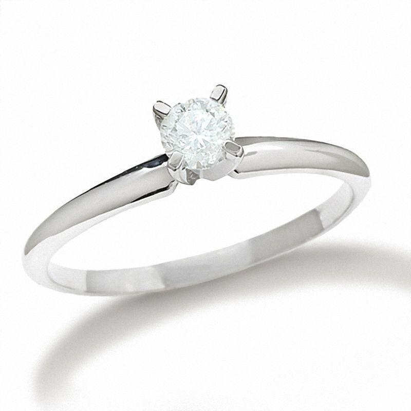 14 Karat White gold Genuine Natural Round Diamond Solitaire