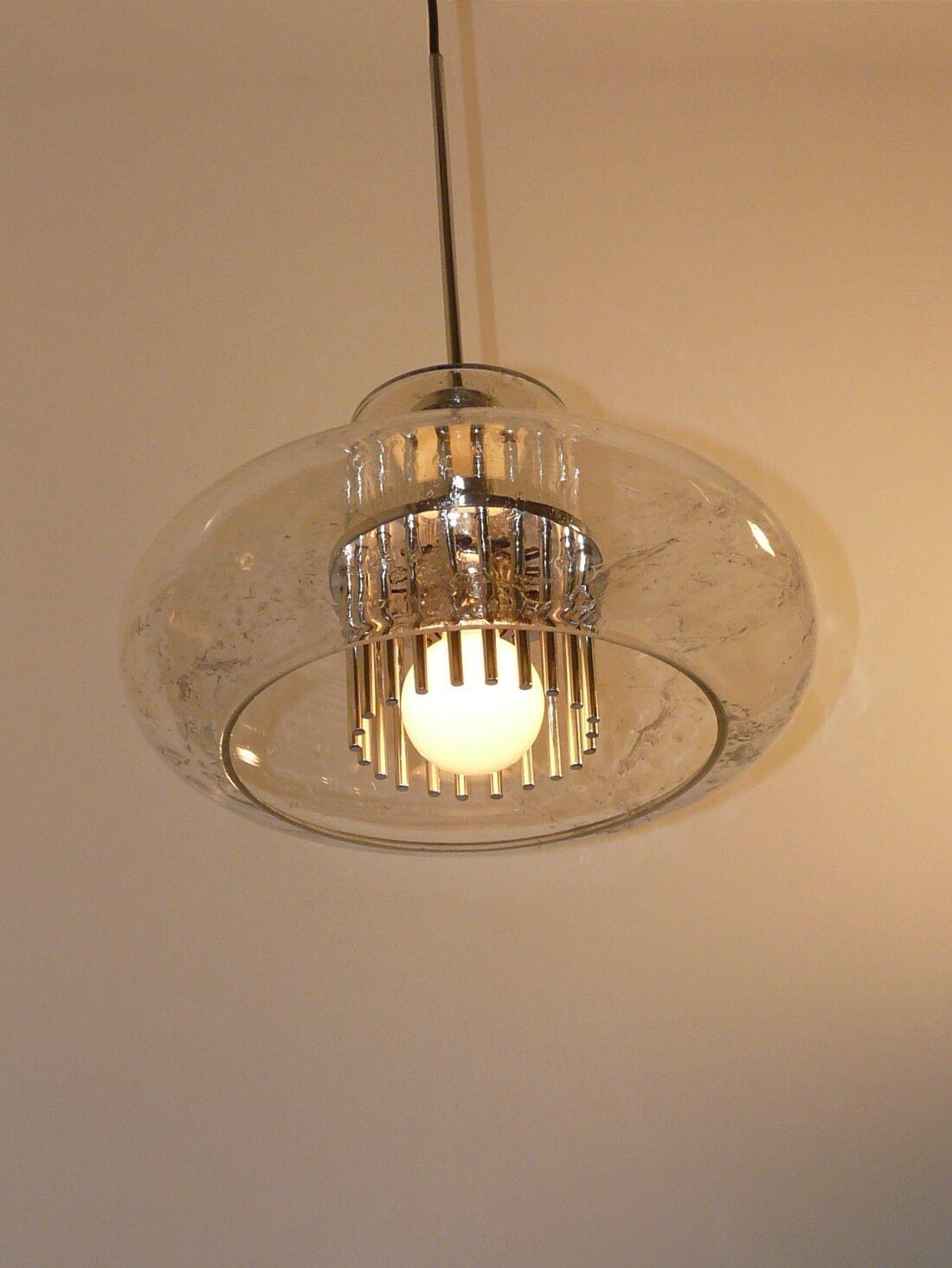 jahrgang, Stylish Pendant lampe, texturot Glass and Chrome, DORIA-Germanny