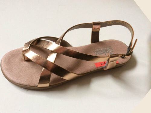 RIEKER Sandale Sandalette Zehentrenner Dianette Damen Zehen Schuhe Bronze 182216