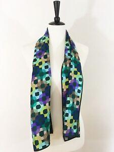 Echo-Silk-Scarf-Lime-Aqua-Purple-Black-Circle-Chain-Abstract-Rectangle-12x53