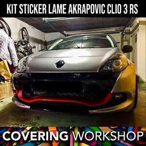kit sticker lame avant type akrapovic renault clio 3 rs renault sport ebay