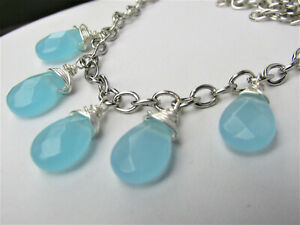 Semi-Precious-Blue-Chalcedony-Faceted-Teardrop-Necklace-Silver-USA-HANDMADE