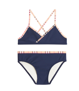 c41634d68107 BURBERRY GIRL CROSBY CLASSIC CHECK PRINT TWO PIECE SWIMSUIT - NAVY ...