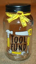 Dad X-mas Gift Tools Mason Jar COIN Piggy Money Fund BANK with Slotted Lid