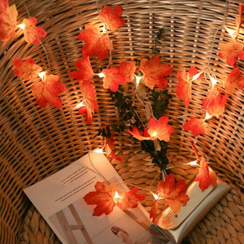 Fall Maple Leaves Fairy String Light 10//20//30 LED Autumn Home Lamp Garland Decor