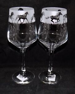 New-Etched-034-HORSE-034-Wine-Glass-es-Free-Gift-Box-Large-390mls-Wine-Glass