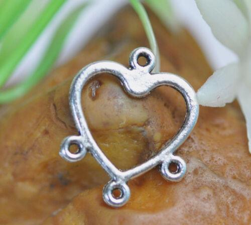 FREE SHIP 30pcs tibetan silver heart earring connector findings 17X13mm A117