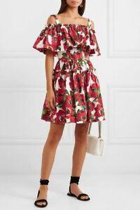1495-Dolce-amp-Gabbana-AUTH-NEW-Anemone-Floral-Print-Poplin-Tiered-Mini-Dress-42
