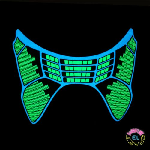 Glowing Green Carnival festival Sound Activated Driver Blue Equalizer Mask