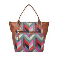Genuine Fossil Fiona Brown Leather & Multi Colour Fabric Large Tote Bag £119
