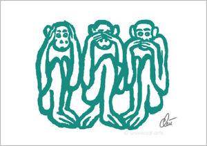 4ebe2c1ea8ad8 Das Bild wird geladen JACQUELINE-DITT-Wise-Monkeys-light-petrol-A2-signiert-