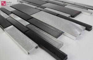 Mosaico in vetro alluminio piastrelle brillante nero opaco argento