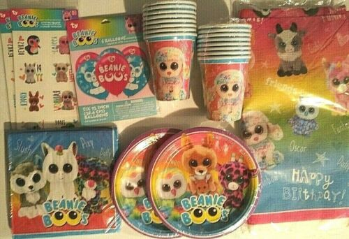 BEANIE BOOS Birthday Party Supply Kit Pack For 16 w// Temporary Tattoos /&Balloons