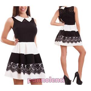 Vestito donna miniabito abito ruota corto pizzo colletto righe zip ... 236e5c12bc1
