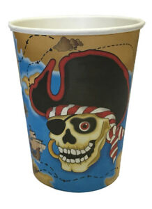 Image is loading Pirate-Cup-Pack-Of-6-Disposable-Paper-Cups-  sc 1 st  eBay & Pirate Cup Pack Of 6 Disposable Paper Cups Kid Birthday Party ...