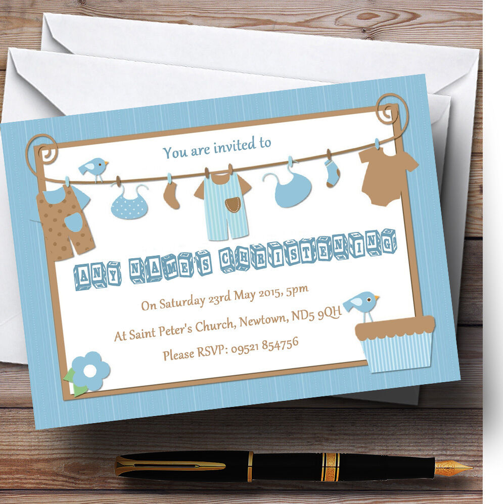 Blau Boys Clothes Christening Party Personalised Invitations