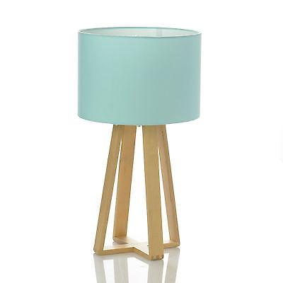 Lampe Bleu pied en bois   Lampe de table  Décoration Eclairage Luminaire  H 47,5