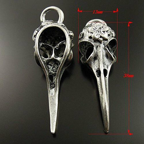 30 Large Raven Skull Pendants Halloween Gothic Bird Charms Skeletons BULK
