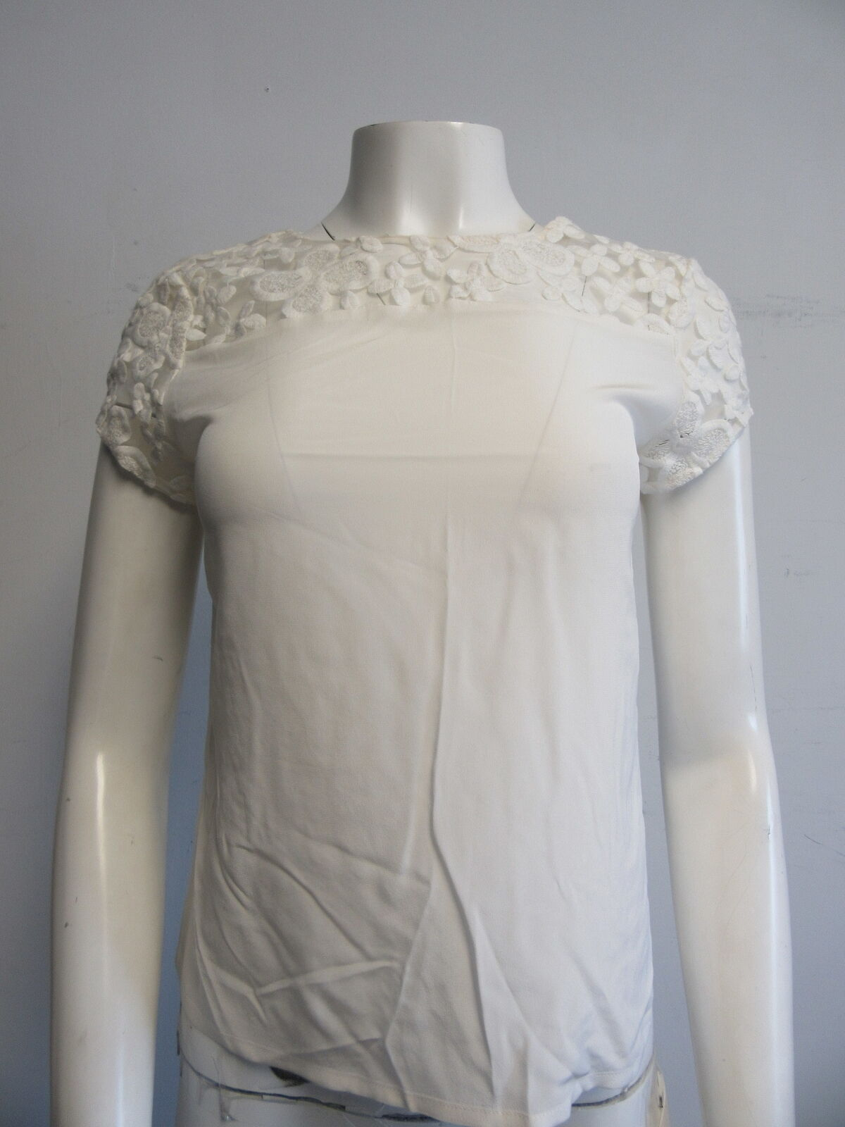 MAJE silk ivory sheer floral embroidery cap- sleeve blouse top sz small