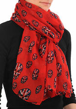 Red With British Flag Skull Unisex Scarf and Beach Sarong (SF000706)