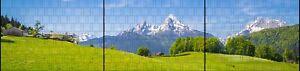 Sichtschutzstreifen für Stabmattenzaun + Klemmen 2. Wahl Alpen - Panorama XXL